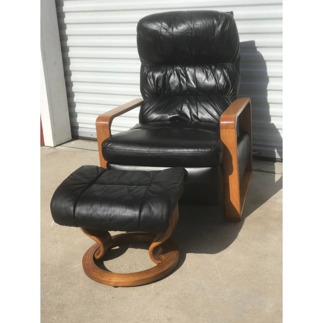 Original 1950s Borge Mogensen Genuine Black Leather Lounge Chair with Ottoman