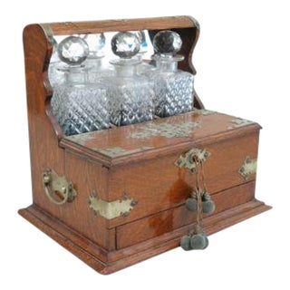 Victorian Oak Tantalus Set with 3 Crystal Bottles For Sale