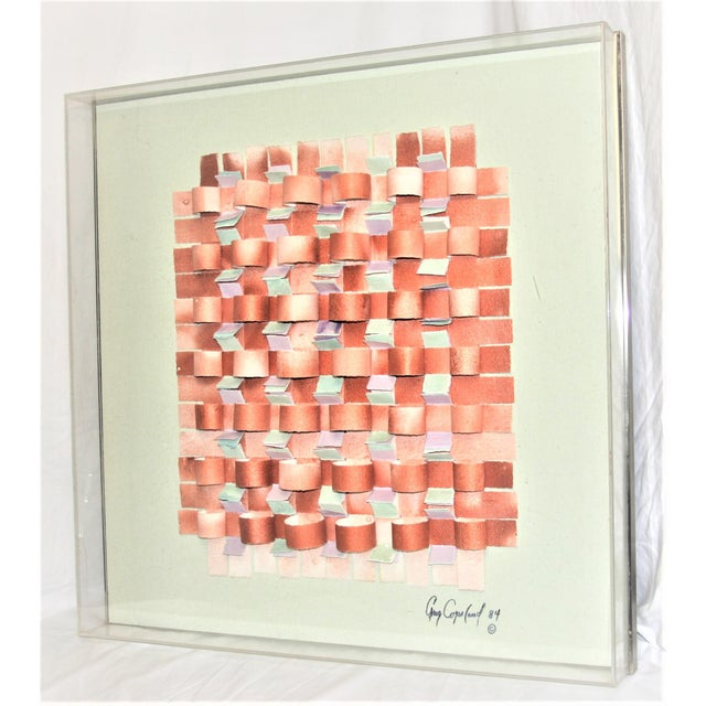 Mid-Century Modern Mixed Media Art in Lucite Box Frame Signed Greg Copeland For Sale - Image 13 of 13