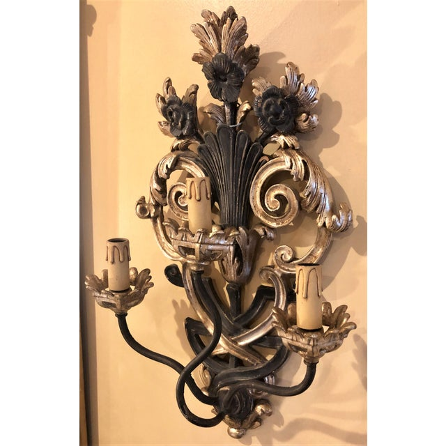 Pair of Italian Carved Wood Wall Sconces circa 1940s-1950s