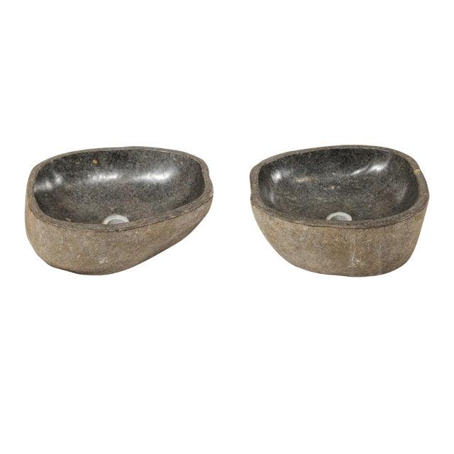 Pair of Carved and Polished Grey River Rock Sink Basins For Sale