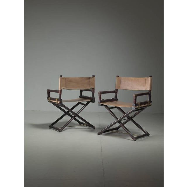 McGuire Pair of Wood, Leather and Brass Director's Chairs, USA, 1950s - Image 2 of 4