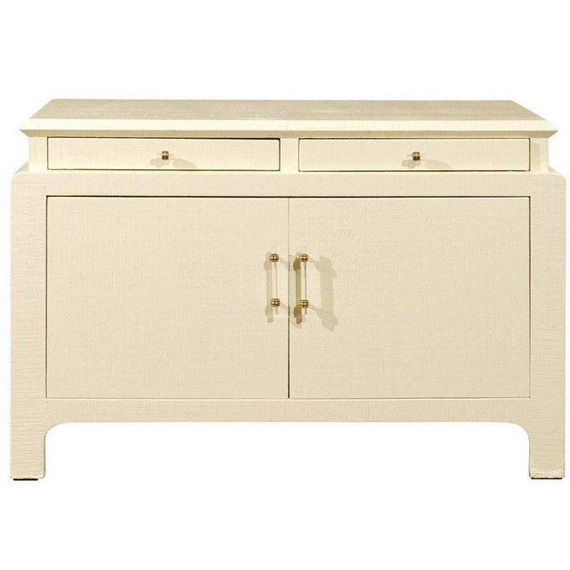 Gorgeous Restored Raffia Cabinet by Harrison-Van Horn in Cream Lacquer For Sale - Image 11 of 11