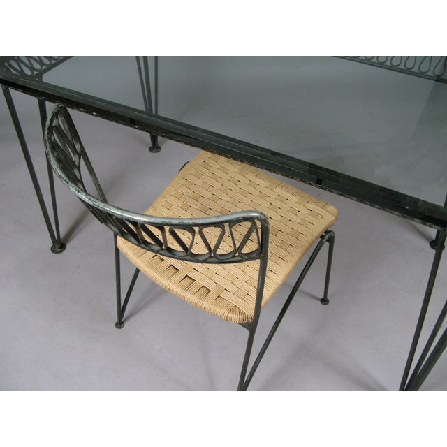 1940s 1950s Vintage Tempestini Wrought Iron Desk and Chair For Sale - Image 5 of 8