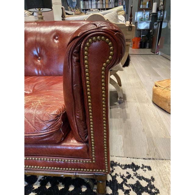 Vintage Tufted Leather Chesterfield Sofa For Sale In Los Angeles - Image 6 of 12