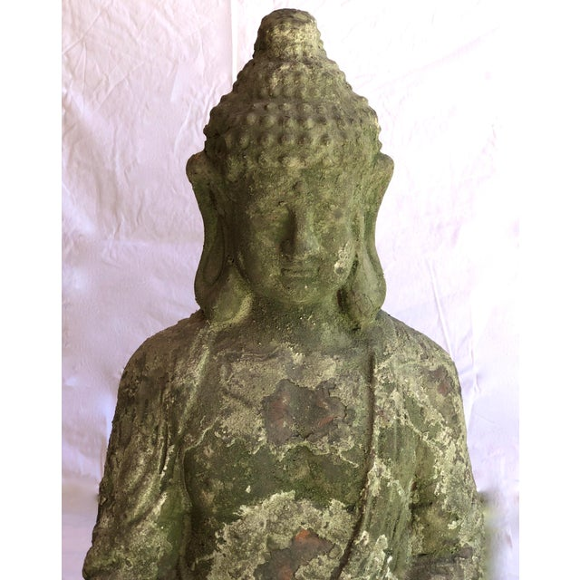 Old Large Terra Cotta Outdoor, Buddha Statue on Lotus Base. Peaceful terra cotta sitting Buddha seated in a resting...