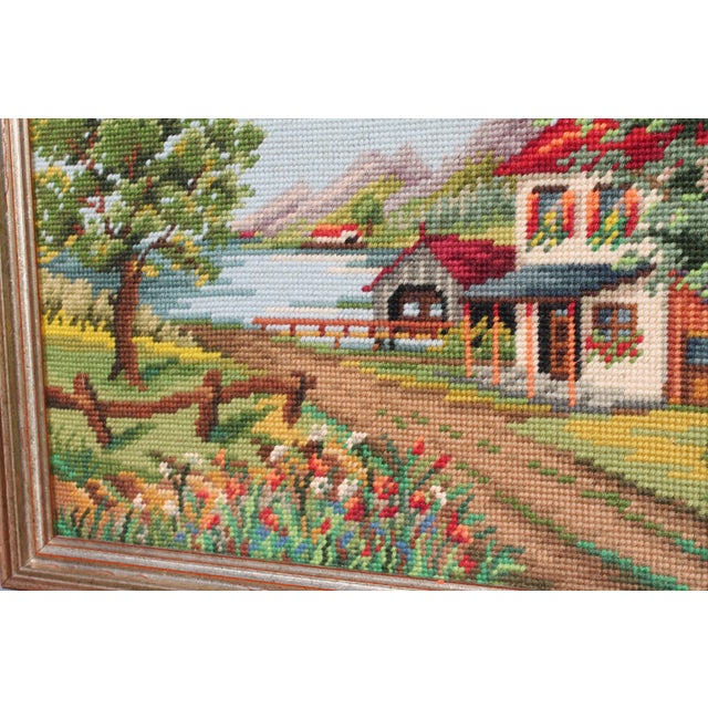 Tan Vintage Framed Country Home Needlepoint For Sale - Image 8 of 10