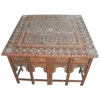 Bone Inlay Square Coffee Table For Sale