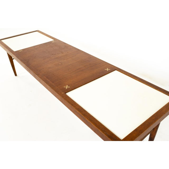 Mid 20th Century Merton Gershun for American of Martinsville Mid Century X Inlaid Walnut and White Laminate Coffee Table For Sale - Image 5 of 12