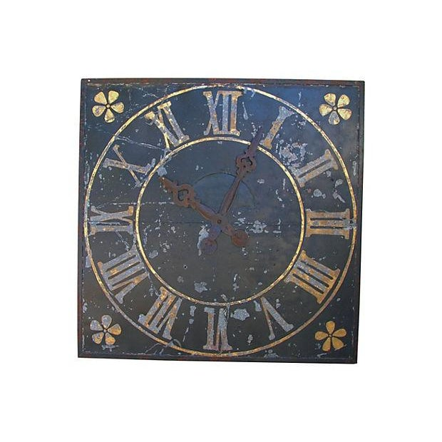 "Gold X-Large Stunning Antique French Iron & Gilt Tower Clock Face 79"" Square For Sale - Image 8 of 9"