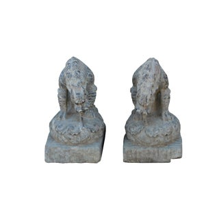 Chinese Small Pair Distressed Black Gray Stone Fengshui Foo Dogs Statues