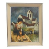 Image of Original Mid-Century Oil Painting of a Young Girl and Church - Signed Ronald For Sale