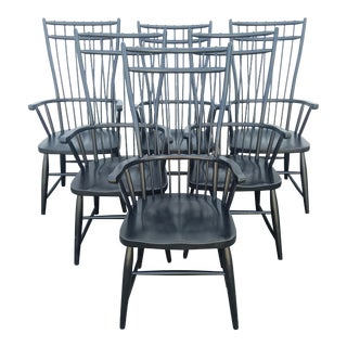 20th Century American Classical Black Oak Windsor Armchairs - Set of 6