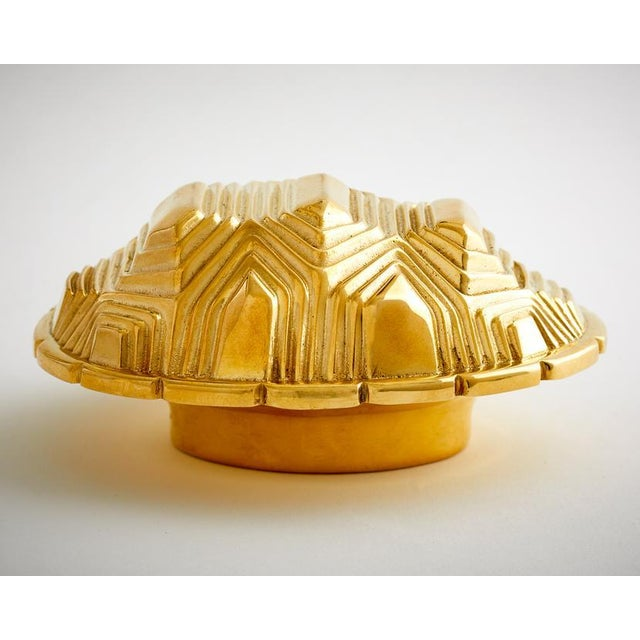 Art Deco Nest Studio Collection Tortoise Polished Brass No Lacquer Handle For Sale - Image 3 of 4