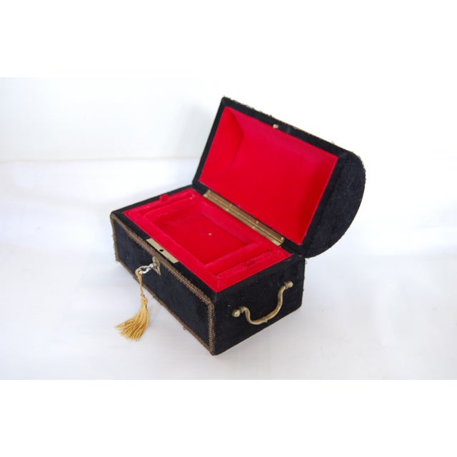 Antique French Black Velvet Jewelry Chest - Image 3 of 5