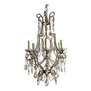 Italian Vintage Beaded Crystal Chandelier For Sale