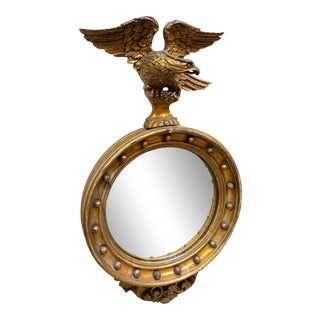 1817 Federal Style Giltwood Wall Mirror With Eagle Crest For Sale
