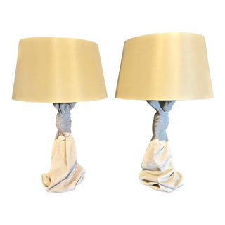 John Dickinson-Style Draped Lamps - a Pair For Sale