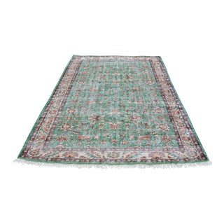 1960s Turkish Tribal Handwoven Beige and Green Wool Floor Rug