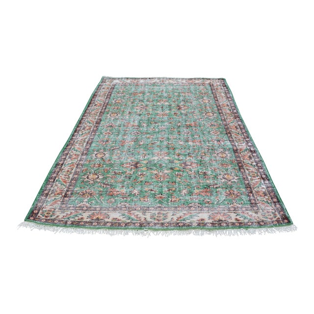 1960s Turkish Tribal Handwoven Beige and Green Wool Floor Rug For Sale