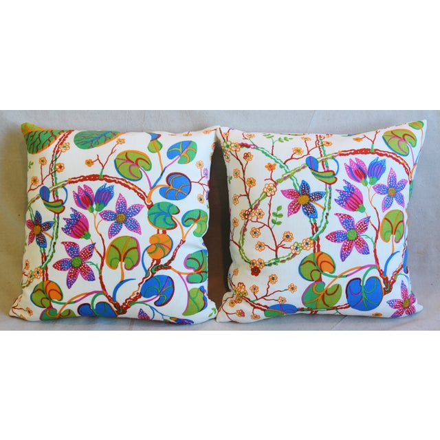 "Pair of custom-tailored double-sided pillows in designer Josef Frank/Svenskt Tenn ""Teheran"" printed linen fabric depicting..."