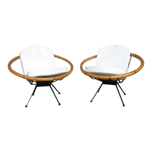 Rare Mid Century Flying Saucer Ritts Tropitan Rattan and Iron Patio Chairs Restored For Sale