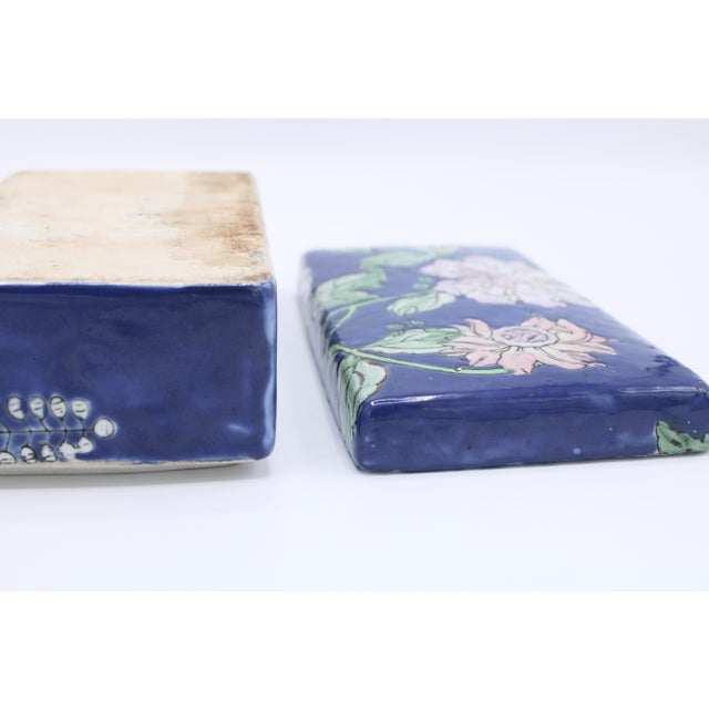 Blue Antique Asian Ceramic Floral Peonies Jewelry Box For Sale - Image 8 of 13