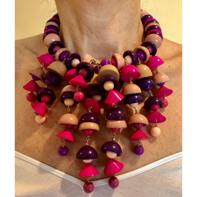 2010s French Pink Fringe Architectural Bib Statement Necklace For Sale - Image 5 of 7