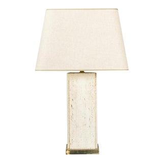 French 1960s Large Rectangular Travertine Lamp on Rectangular Brass Base For Sale