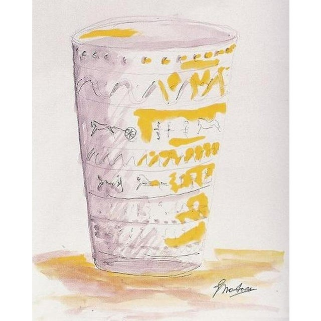 Art Glass Ermanno Nason Vase With Original Drawing For Sale - Image 7 of 8