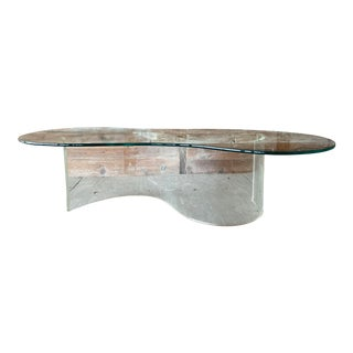 Vintage Lucite Serpentine Coffee Table For Sale