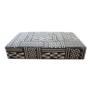 Vintage Wool Rug Cube Style Cocktail Ottoman in Black and Off-White For Sale