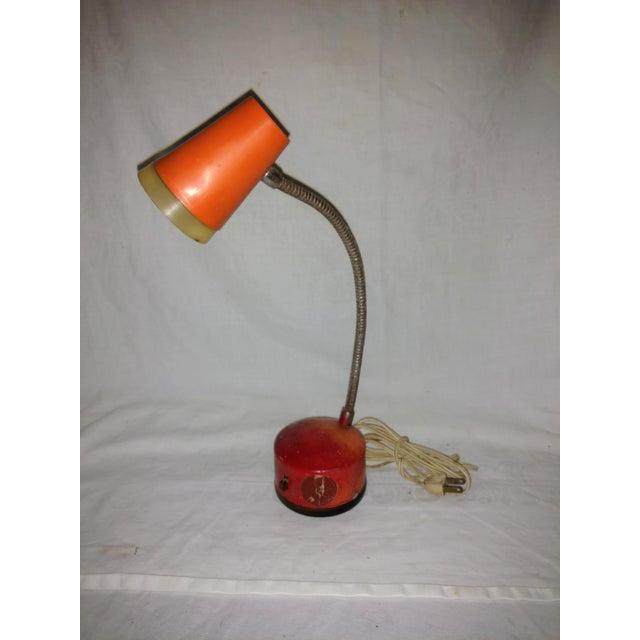 Mid-Century Modern Industrial Mini Orange Work Lamp For Sale - Image 3 of 9