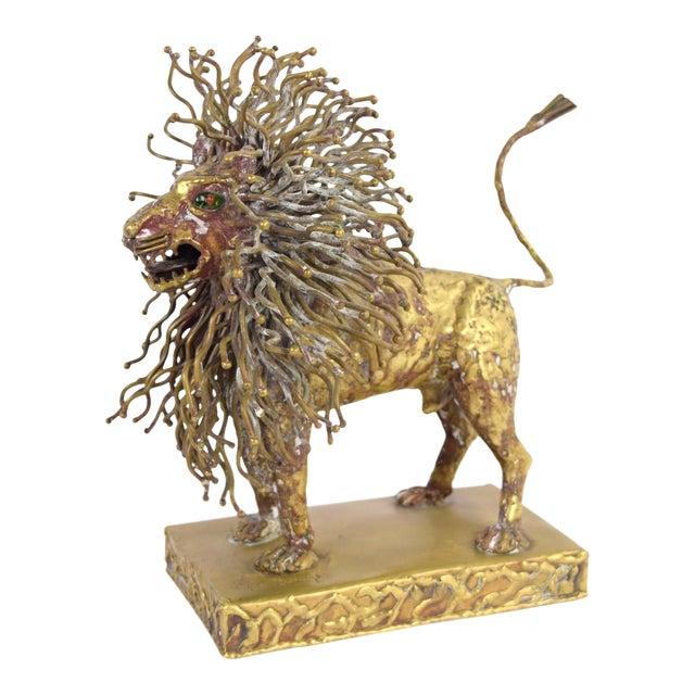 Pal Kepenyes Modernist Brutalist Brass Lion Sculpture Mexican Hungarian Artist For Sale