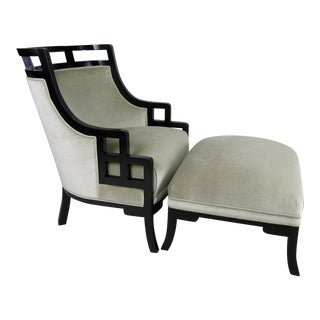 """Wallis Simpson"" Lounge Chair and Ottoman by Jay Spectre For Sale"