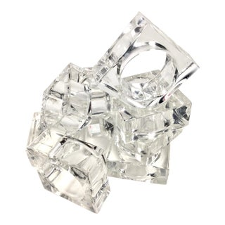Modern Vintage Clear Lucite Napkin Rings For Sale