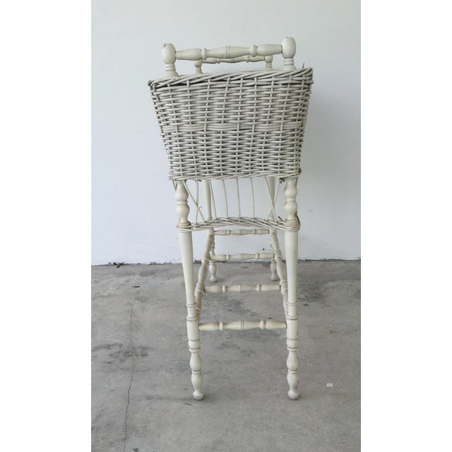 Antique White-Painted Wicker & Wood Planter - Image 6 of 9