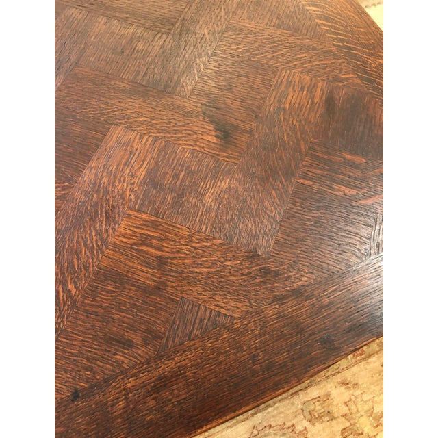 Brown French Country Small Parquetry Walnut Refractory Table For Sale - Image 8 of 11