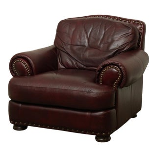 Robinson & Robinson Oxblood Leather Chair For Sale