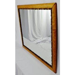 Antique Oak Framed Mirror With Gilt Filigree Carved Wood Trim Preview