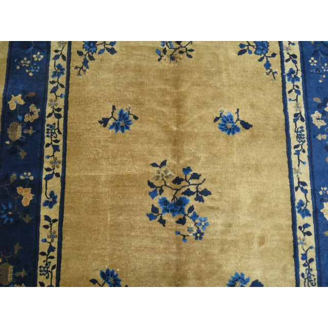 Brown and Blue Antique Chinese Signatured Rug, 5' X 7'9'' For Sale - Image 4 of 9