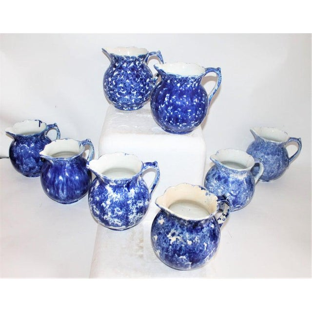 19th Century Bulbous Sponge Ware Pitcher Collection - 8 Piece Set For Sale In Los Angeles - Image 6 of 8