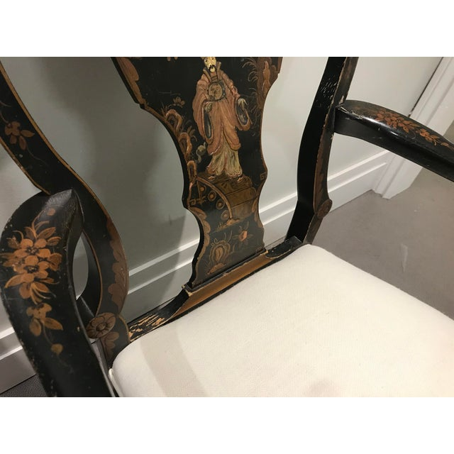 Wood Antique Painted Chinoiserie Arm Chair For Sale - Image 7 of 13