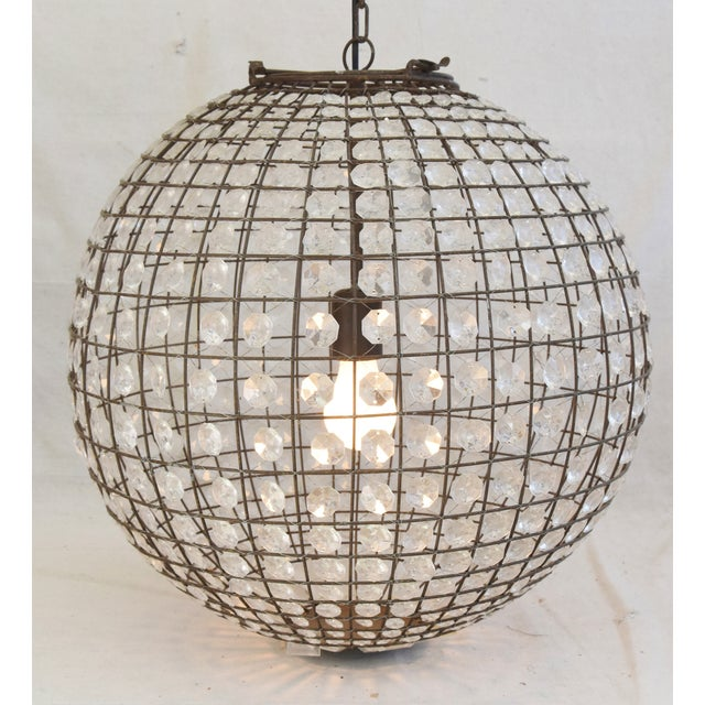 Late 20th Century Crystal Prism Sphere Ball Chandelier For Sale - Image 4 of 13