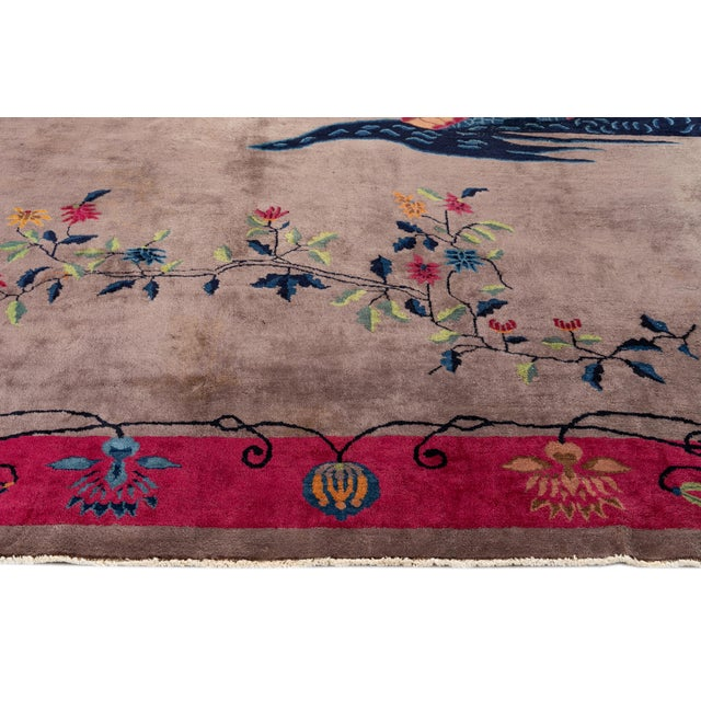 Vintage Purple Chinese Art Deco Wool Rug 9 Ft X 11 Ft 6 In. For Sale - Image 12 of 13