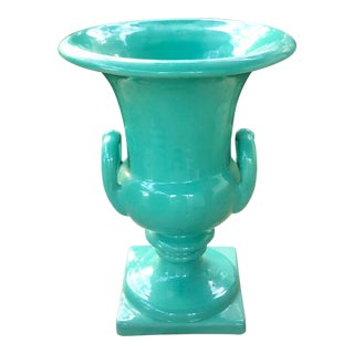 Italian Ceramic Pedestal Urn With Handles in Green For Sale
