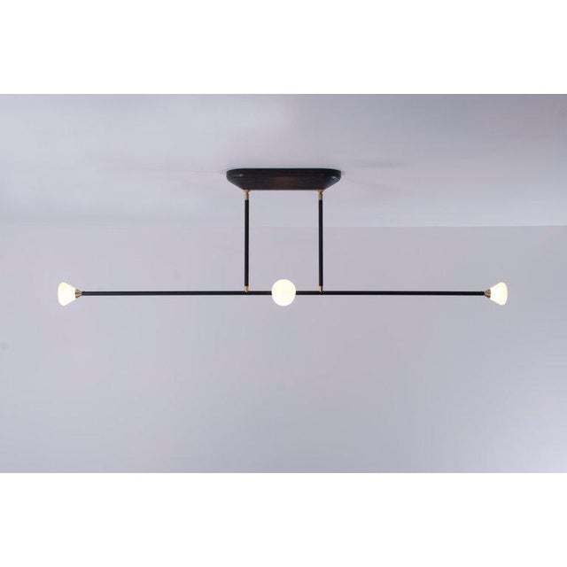 Contemporary Contemporary Matte Black Linear McKenzie and Keim Apollo Four LED Chandelier For Sale - Image 3 of 12