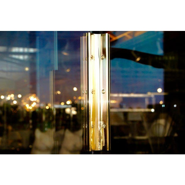 Five-Panel Glass and Brass Hinge Room Divider For Sale - Image 10 of 13