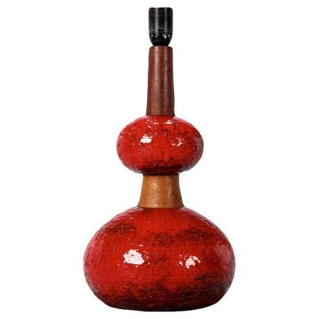 Mid Century Red Ceramic & Walnut Table Lamp - Image 1 of 6