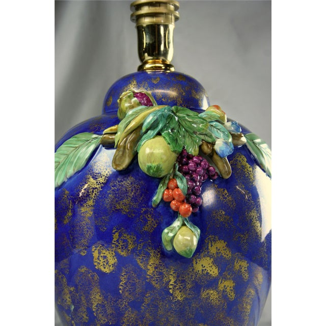 Majolica Italian Majolica Table Lamp Hand-Painted Blue For Sale - Image 4 of 8